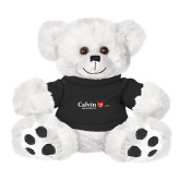 Plush Big Paw 8 1/2 inch White Bear w/Black Shirt-University Logo 1876 Horizontal