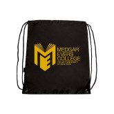 College Black Drawstring Backpack-Official Logo