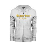 College ENZA Ladies White Fleece Full Zip Hoodie-Alumni