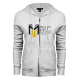 College ENZA Ladies White Fleece Full Zip Hoodie-Official Logo