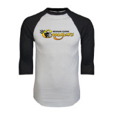 White/Black Raglan Baseball T-Shirt-Medgar Evers Cougars