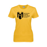 College Ladies Gold T Shirt-Official Logo