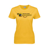 College Ladies Gold T Shirt-Medgar Evers Cougars
