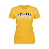 College Ladies Gold T Shirt-Basketball