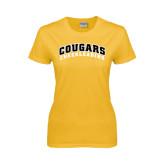 College Ladies Gold T Shirt-Cheerleading