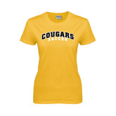 College Ladies Gold T Shirt-Soccer
