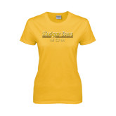 College Ladies Gold T Shirt-Mom