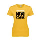 College Ladies Gold T Shirt-Cheer Design