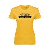 College Ladies Gold T Shirt-Track and Field Design