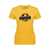 College Ladies Gold T Shirt-Soccer Design