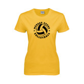 College Ladies Gold T Shirt-Volleyball Design