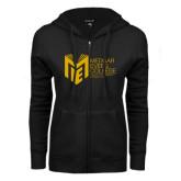 College ENZA Ladies Black Fleece Full Zip Hoodie-Official Logo