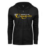 College ENZA Ladies Black Fleece Full Zip Hoodie-Medgar Evers Cougars