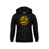 College Youth Black Fleece Hoodie-Volleyball Design
