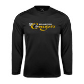 College Performance Black Longsleeve Shirt-Medgar Evers Cougars