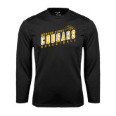 College Performance Black Longsleeve Shirt-Basketball Design