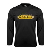 College Performance Black Longsleeve Shirt-Track and Field Design