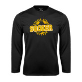 College Performance Black Longsleeve Shirt-Soccer Design