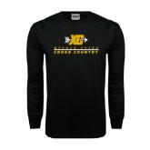 Black Long Sleeve TShirt-Cross Country Design