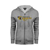 College ENZA Ladies Grey Fleece Full Zip Hoodie-Medgar Evers Cougars