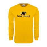 Gold Long Sleeve T Shirt-Cross Country Design