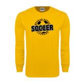 Gold Long Sleeve T Shirt-Soccer Design