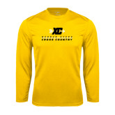College Performance Gold Longsleeve Shirt-Cross Country Design
