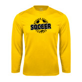 College Performance Gold Longsleeve Shirt-Soccer Design