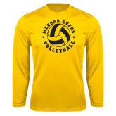 College Performance Gold Longsleeve Shirt-Volleyball Design