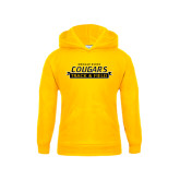 College Youth Gold Fleece Hoodie-Track and Field Design