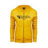 College ENZA Ladies Gold Fleece Full Zip Hoodie-Medgar Evers Cougars