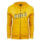 College ENZA Ladies Gold Fleece Full Zip Hoodie-Basketball Design