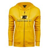 College ENZA Ladies Gold Fleece Full Zip Hoodie-Cross Country Design