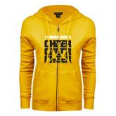 College ENZA Ladies Gold Fleece Full Zip Hoodie-Cheer Design