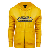College ENZA Ladies Gold Fleece Full Zip Hoodie-Track and Field Design