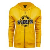 College ENZA Ladies Gold Fleece Full Zip Hoodie-Soccer Design