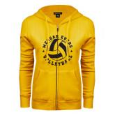 College ENZA Ladies Gold Fleece Full Zip Hoodie-Volleyball Design