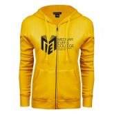 College ENZA Ladies Gold Fleece Full Zip Hoodie-Official Logo