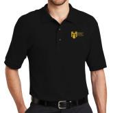 College Black Easycare Pique Polo-Official Logo