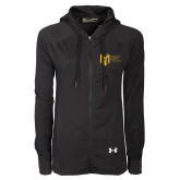 College Ladies Under Armour Black Varsity Full Zip Hoodie-Official Logo