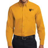 College Gold Twill Button Down Long Sleeve-Official Logo