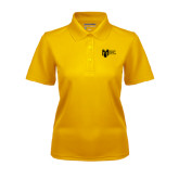 College Ladies Gold Dry Mesh Polo-Official Logo