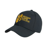 College Black Heavyweight Twill Pro Style Hat-Official Logo