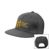 College Charcoal Flat Bill Snapback Hat-Official Logo