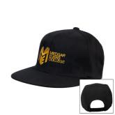 College Black Flat Bill Snapback Hat-Official Logo