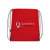 Red Drawstring Backpack-Queens College Stacked