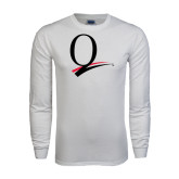 White Long Sleeve T Shirt-Q Logo