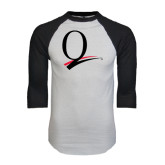 White/Black Raglan Baseball T-Shirt-Q Logo