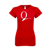 Next Level Ladies SoftStyle Junior Fitted Red Tee-Q Logo