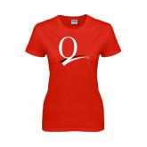 Ladies Red T Shirt-Q Logo